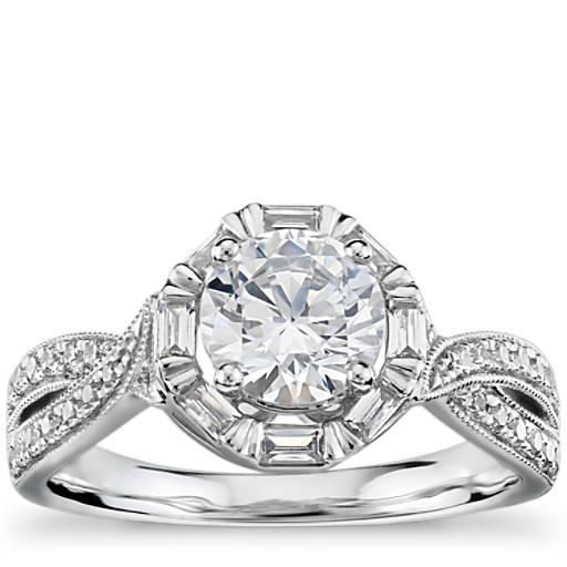 Engagement Rings Zac Posen: Truly Zac Posen Baguette Twist Halo Diamond Engagement