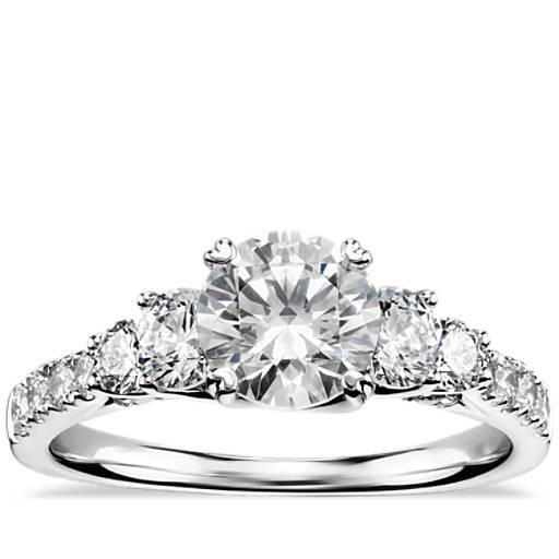 New Truly Zac Posen Five Stone Trellis Diamond Engagement