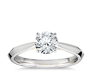 Truly Zac Posen Knife-Edge Solitaire Engagement Ring in Platinum and 18k Yellow Gold
