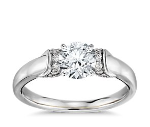 Truly Zac Posen Ribbon Diamond Engagement Ring in Platinum and 18k Yellow Gold
