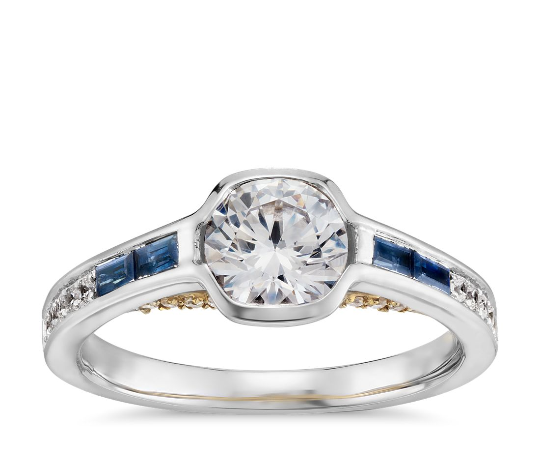 Truly zac posen baguette sapphire bezel set diamond for Diamond wedding ring settings