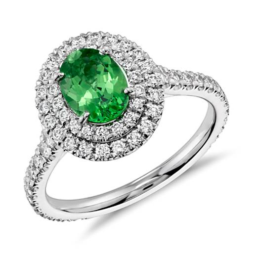 Tsavorite and Diamond Double Halo Ring in 18k White Gold (1.05 cts)