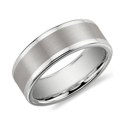 Brushed and Polished Comfort Fit Wedding Ring in White Tungsten Carbide (8mm)