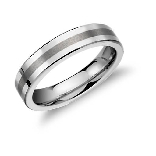 Brushed Centre Flat Ring in White Tungsten Carbide (5mm)