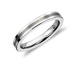 Brushed Center Flat Ring in White Tungsten Carbide (3mm)
