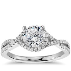 Twisted Halo Diamond Engagement Ring in 14k White Gold