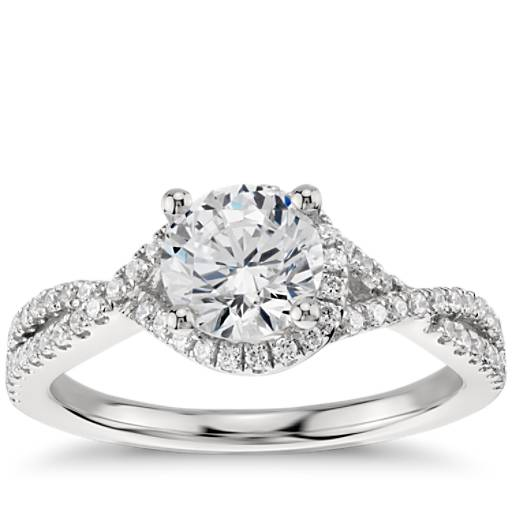 Twisted Halo Diamond Engagement Ring In Platinum 1 3 Ct