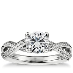 Twist Pavé Diamond Engagement Ring in 14k White Gold