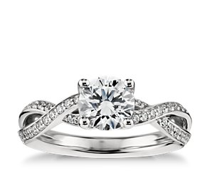 Twist Pavé Diamond Engagement Ring in Platinum