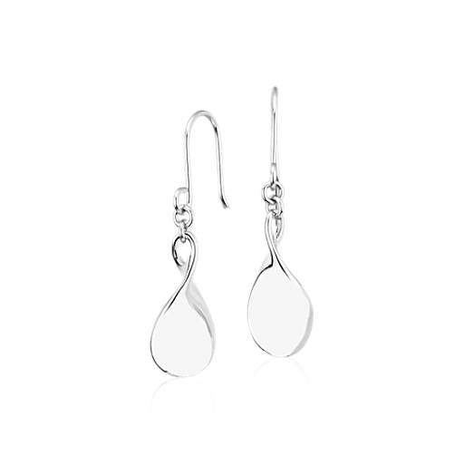 Twist Teardrop Earrings in Platinum