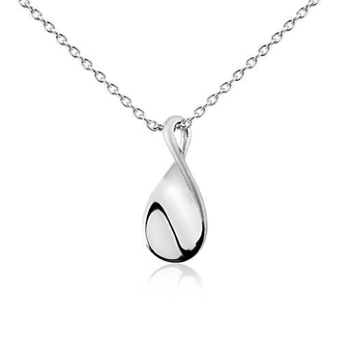 Twist Teardrop Pendant in Sterling Silver