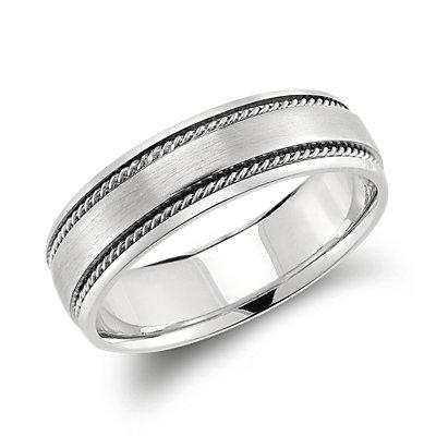 Alianza retorcida elaborada a mano en platino (6mm)
