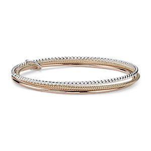 Twisted Bangle Bracelets in Yellow Gold Vermeil, Rose Gold Vermeil and Sterling Silver