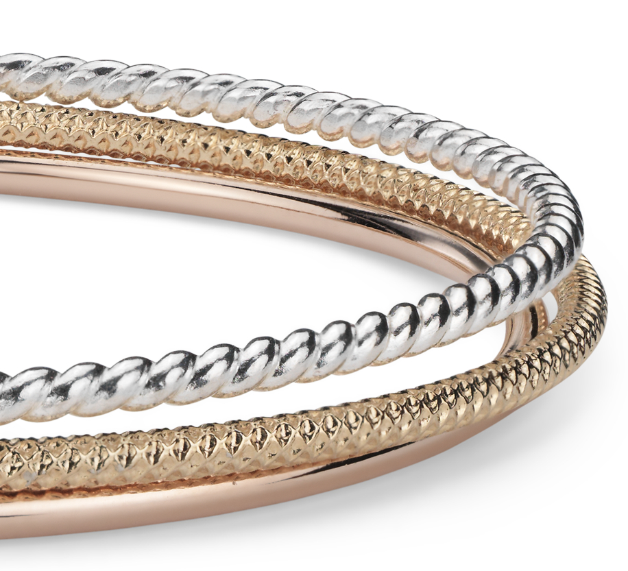 Bracelet jonc torsadé en vermeil or jaune 18carats , Vermeil or rose et Argent sterling