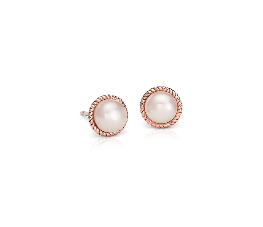 Freshwater Cultured Pearl Roped Stud Earrings in 14k Rose Gold