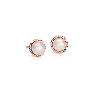 Puces d'oreilles corde de perles de culture d'eau douce en or rose 14 carats (6 mm)