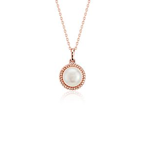 Freshwater Cultured Pearl Twisted Pendant in 14k Rose Gold (6mm)