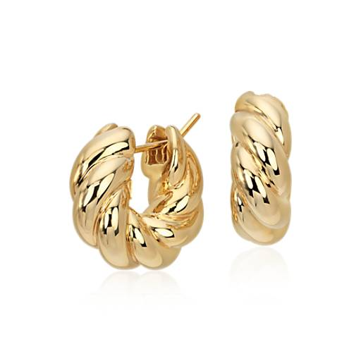 Classic Twisted Hoop Earrings in 14k Yellow Gold