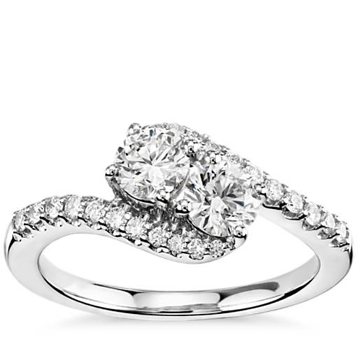 two ring in 14k white gold 1 1 3 ct tw