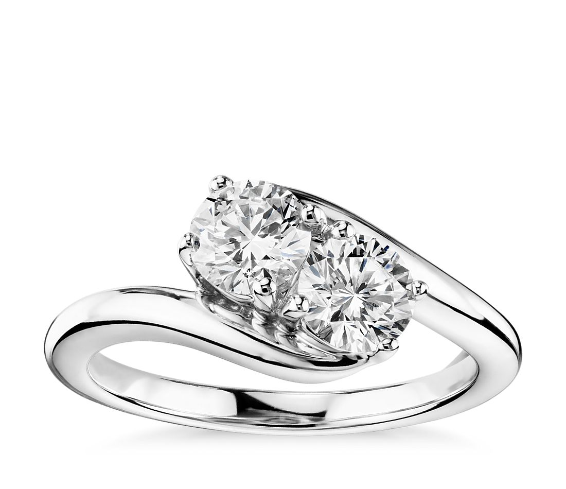 two solitaire ring in 14k white gold 1 ct