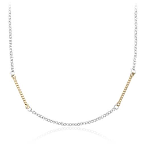 "NEW Two-Tone Bar Station Necklace in Sterling Silver and Yellow Gold Vermeil (30"")"