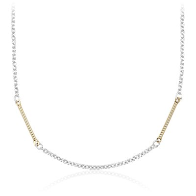 "Two-Tone Bar Station Necklace in Sterling Silver and Yellow Gold Vermeil (30"")"