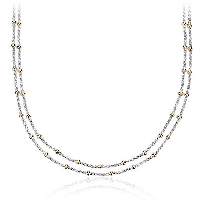 Two-Tone Layered Bead Station Necklace in Sterling Silver and 14k Yellow Gold