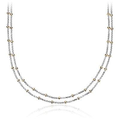 Collier à rangées de perles bicolores en argent sterling et or jaune 14carats