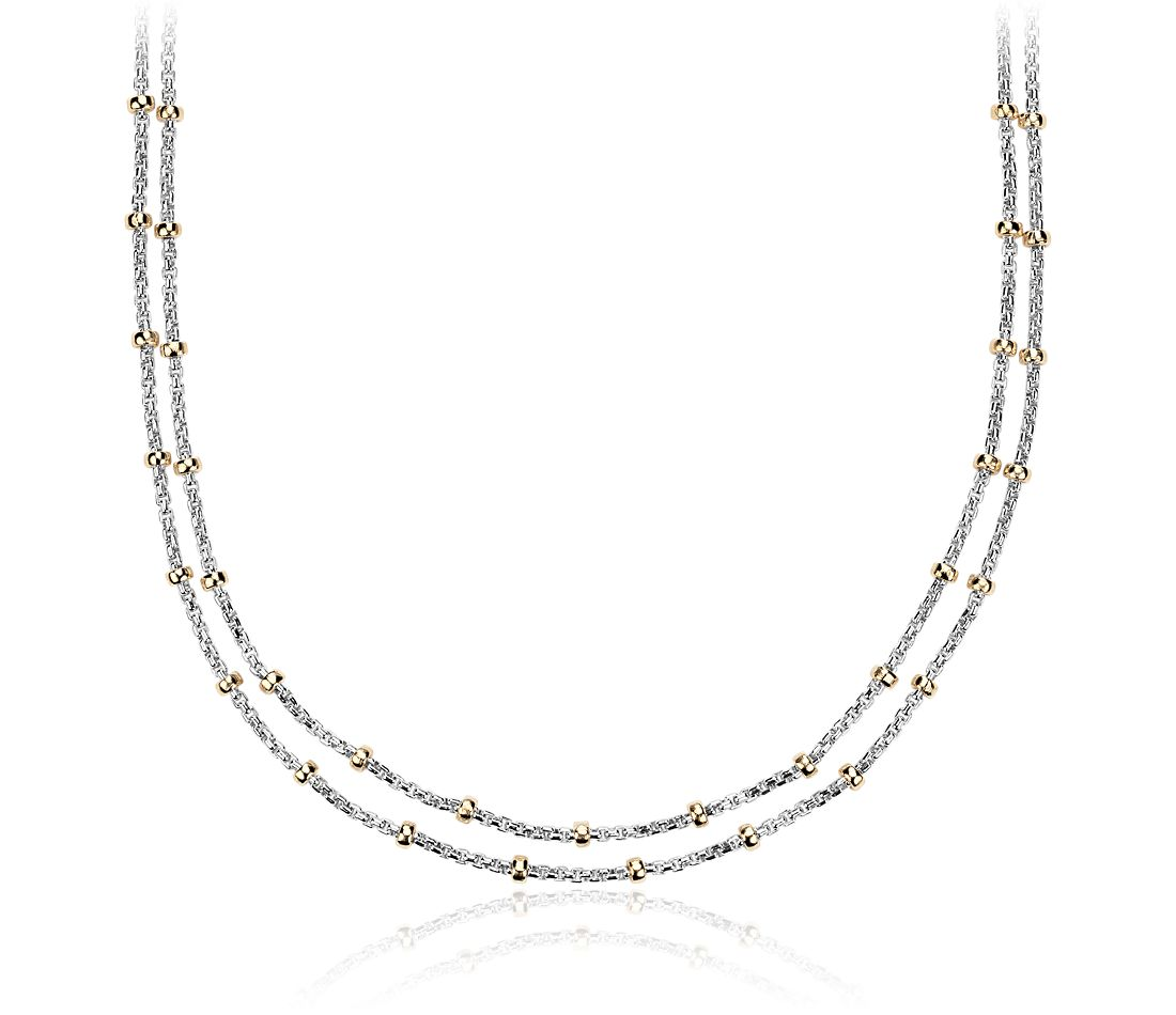 Two Tone Layered Bead Station Necklace In Sterling Silver
