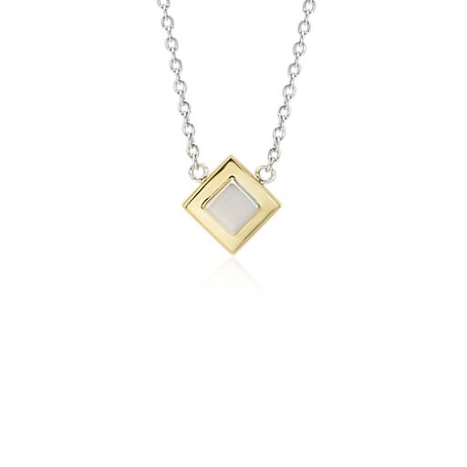 NEW Two-Tone Box Necklace in Sterling Silver and Yellow Gold Vermeil