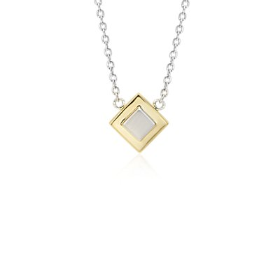 Two-Tone Box Necklace in Sterling Silver and Yellow Gold Vermeil