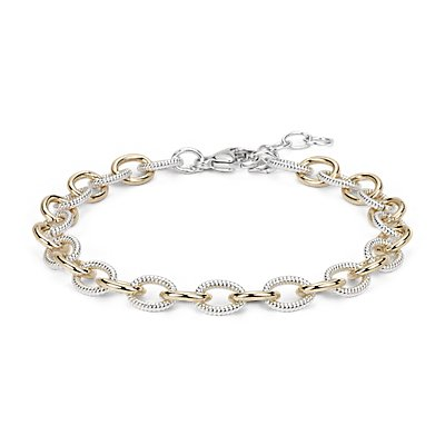 NEW Two-Tone Chain Link Bracelet in Sterling Silver & 14k Yellow Gold