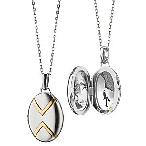 NEW Monica Rich Kosann Petite Two-Tone Chevron Locket in Sterling Silver and 18k Yellow Gold