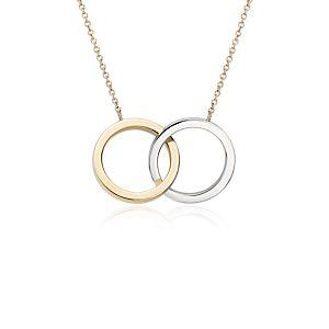 Collar de dos tonos con motivo de amor eterno en oro blanco y amarillo de 14k