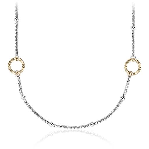 NEW Two-Tone Station Necklace in Sterling Silver & 14k Yellow Gold