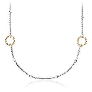 "Long Two-Tone Station Necklace in Sterling Silver and 14k Yellow Gold (42"")"