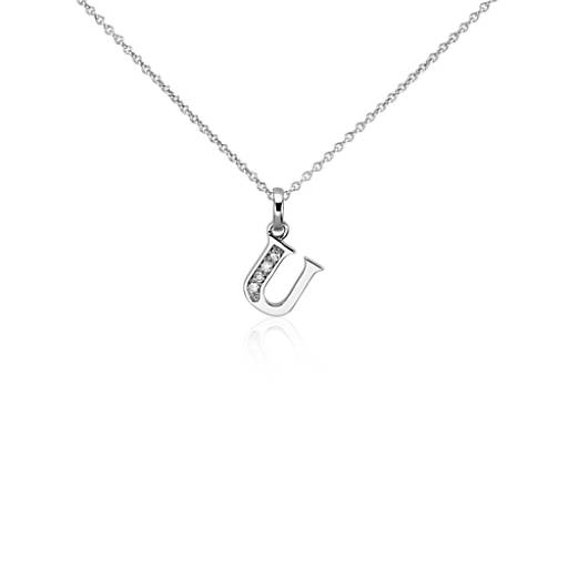 "Mini Initial ""U"" Diamond Pendant in 14k White Gold"