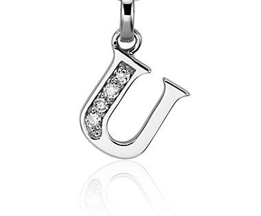"Mini Initial ""U"" Diamond Pendant in 14k White Gold"