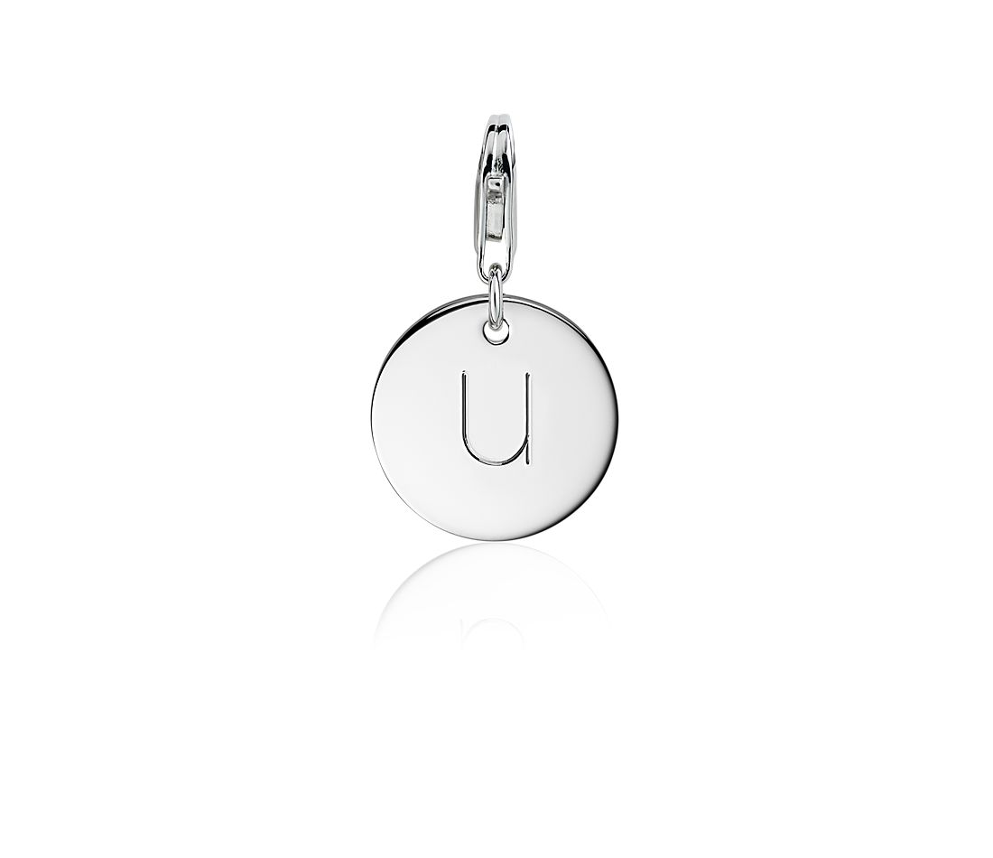 """U"" Initial Charm in Sterling Silver"