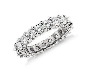 U-Prong Eternity Diamond Ring in Platinum (3 ct. tw.)