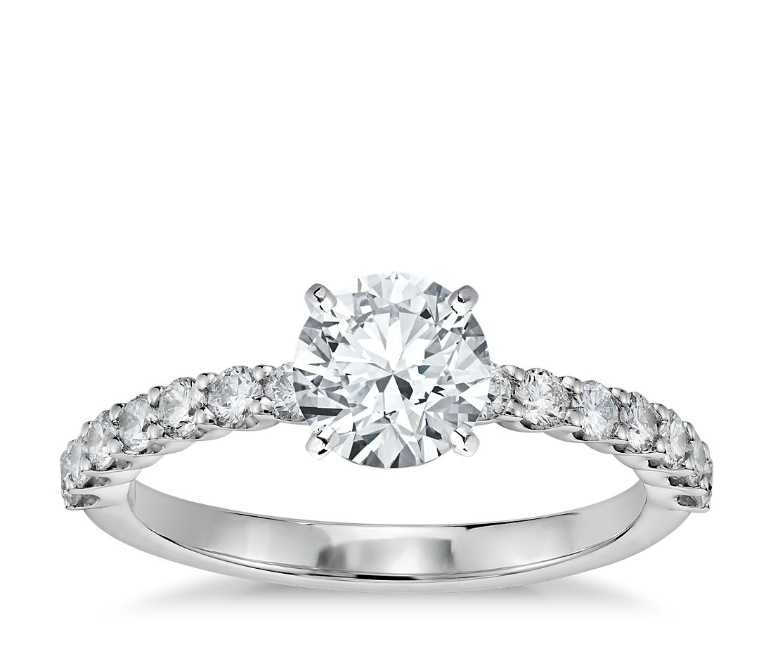 Petite U-Prong Diamond Engagement Ring in Platinum (1/3 ct. tw.)