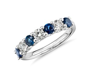 U-Prong Seven Stone Sapphire and Diamond Ring in Platinum