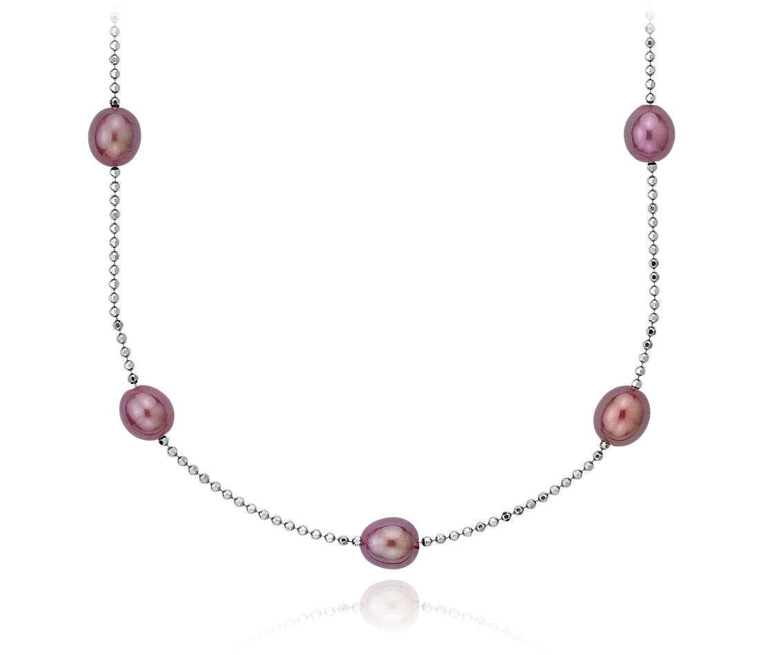 "Plum Freshwater Cultured Pearl Necklace in Sterling Silver - 18"" Long"