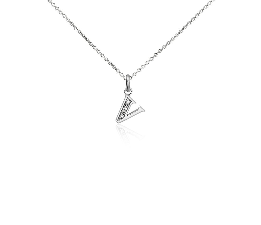 "Mini Initial ""V"" Diamond Pendant in 14k White Gold"