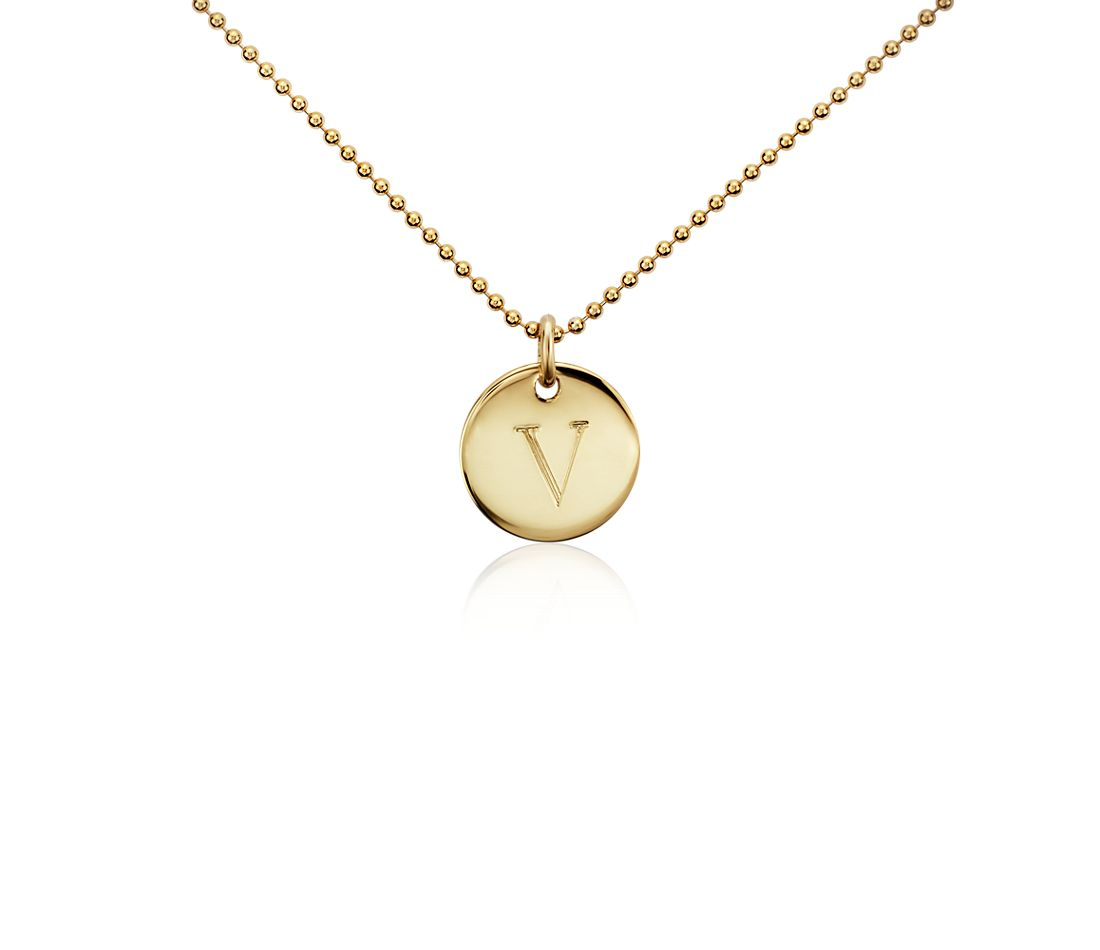 """V"" Mini Initial Pendant in Gold Vermeil"