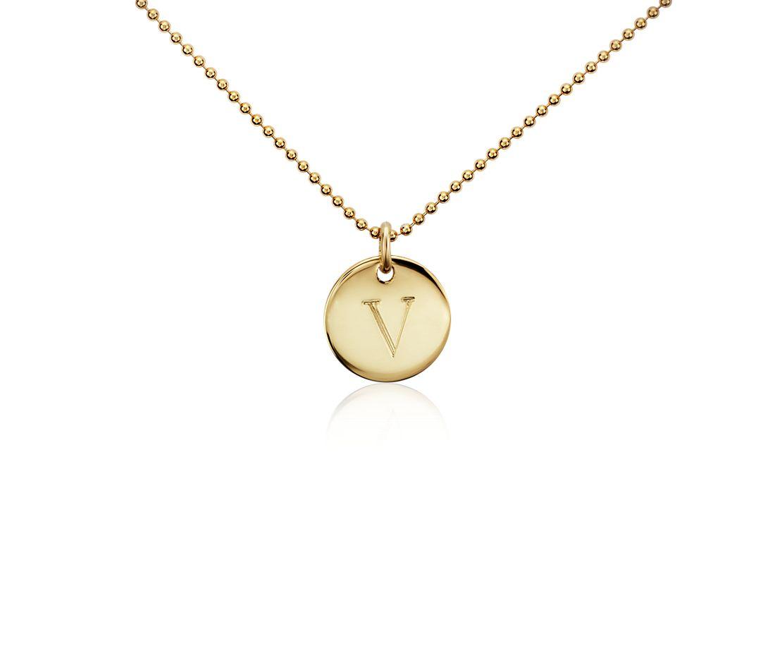 """V"" Mini Initial Pendant in Gold Vermeil"
