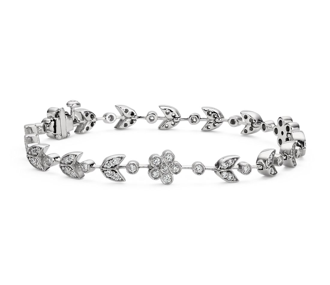 Vine Bracelet in 14k White Gold