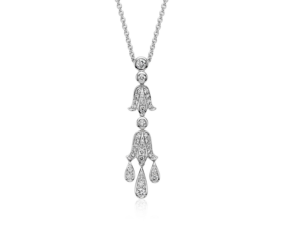 Chandelier Diamond Pendant in 14k White Gold