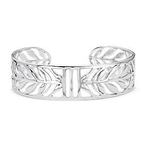 Bracelet manchette feuille vintage en argent sterling
