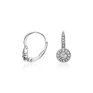 Vintage Halo Diamond Earrings in 14k White Gold